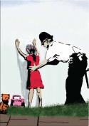 Banksy Art - Open Greeting Card - Girl Being Frisked - BK020