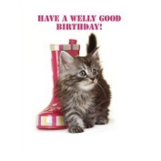 Cute Tabby Kitten Cat with pink wellington boot 'Have a welly good Birthday' card