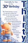 Especially For You On Your 30th Birthday Card - 'Especially For You On Your 30th Birthday'