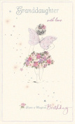 Gold Granddaughter Birthday Card With Love Glitter Fairy 23cm x 13cm Code 2009F