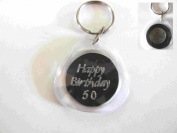 real uk 6d sixpence 50th birthday keyring black, birthday gift unique and exclusive