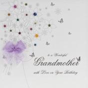 """ TO A WONDERFUL GRANDMOTHER, WITH LOVE ON YOUR BIRTHDAY "" HANDMADE BIRTHDAY CARD - BB9"