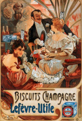 2 Alphonse Mucha Art Nouveau 'Biscuits Champagne-Lefevre-Utile' Greeting Cards - Note Paper, Any Occasion 21 x 14.5 cm Cellophane Wrapped, With Envelopes