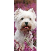 Westie dog in pink heather Happy Birthday Card West Highland White Terrier