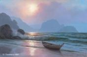 Seascape Fine Art Greeting Card - Blank - Sunrise At Phang Nga Beach