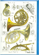 French Horn Blank Greeting Card