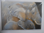 'Mother Love' Elephant and Baby Sanctuary Pollyanna Pickering blank greetings card