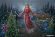 Fairy Queen Art Cards - Poinsettia Christmas Fairy Art Greeting Card - Blank - Poinsettia Fairy Queen's Celebration