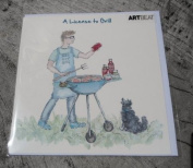 "Art Beat ""A Licence to Grill"" Blank Greetings Card"