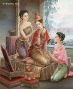 Thai Cultural Art Greeting Card - Blank - Attending Palace Lady