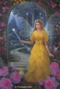 Fairy Queen Art Cards - Rose Flower Fairy Art Greeting Card - Blank - Yellow Rose Fairy Queen