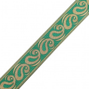 Green Base Jacquard Ribbon Trim Paisley Design Metallic Thread Crafting Lace 3 Yard