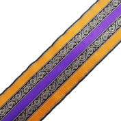 Handmade Ribbon Sewing Trim Purple Jacquard Paisley Design Home Décor Sari Border Lace India 4.4Yd