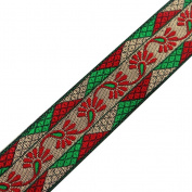 Jacquard Ribbon Sewing Trim Green Geometrical Floral Pattern Home Décor Handmade Border Lace 4yd