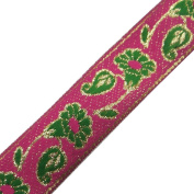 Pink Base Jacquard Ribbon Trim Floral Shape Woman Sari Border Sewing Lace 3 Yard