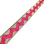Pink Metallic Ribbon Trim Zig Zag Shape Saris Border Sewing Crafting Lace 4 Yard