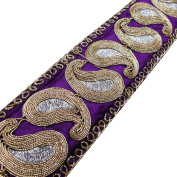 Purple Royal Style Fabric Trim Acrylic Thread Paisley Shape Sari Border Lace Sewing Craft 1 Yard