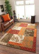 Milan Brown, Red, Orange, Beige & Cream Patchwork Rug 1568-S22 - 4 Sizes