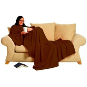 Snug Rug Blanket Deluxe with built-in sleeves for adults in chocolate brown