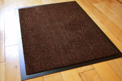 MEDIUM RUST /BLACK NON SLIP DOOR MAT RUBBER BACKED RUNNER BARRIER MATS RUG PVC EDGED KITCHEN MAT