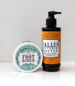 Sherman & Clark Foot Care Set - Callus Softening Tincture and Peppermint Foot Scrub