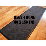 LONG NARROW HEAVY DUTY RUBBER BACK NON SLIP ABSORBENT BLACK GREY BARRIER RUNNER 60 X 180 CM