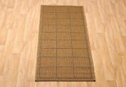 Flatweave Checked Non Slip Sisalo Runner Rug / Mat, 60cm x 180cm - Brown