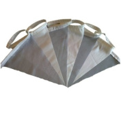6.1m Ivory & Pale Silver Taffeta Single Sided Fabric Bunting - Wedding, Christening, Party