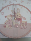 Little Feet Girls Pink Bedroom Wall Clock With Gift Box - Part of A Great Range Of Nursery Gifts