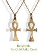 9ct Gold Diamond Cut Ankh Cross & Chain. Reversible Cross.