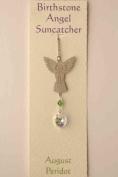 . Crystal Birthstone Angel Suncatcher - August - Peridot