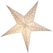 BRUBAKER Great Christmas Paper Star White with Glitter Print in Silver - 110cm - High-Quality Decor Paper