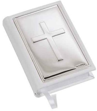 Gem Bible- Plain Cross- White Leather In Sterling Silver By Carrs Of Sheffield
