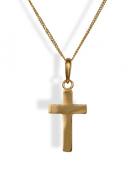 Bridesmaids 9ct Gold Plain Cross & Chain.