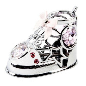 Crysto-Craft Bootie - Baby Silver Shoe with Pink. Crystals - Christening Gift