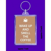 keyring double sided wake up and smell the coffee new keychain