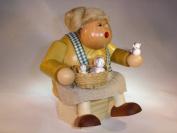 KWO Incense smoker, Sitting Chubby Cats Friend Lady, ORIGINAL from Saxonia, Ore Mountains