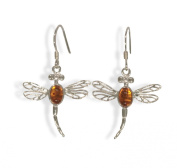 Sterling Silver Amber Dragonfly Earrings.