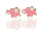 Sterling Silver Enamel Pink Elephant Stud Earrings.