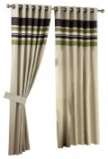 Curtina Harvard Green Eyelet Lined Curtain 66x90