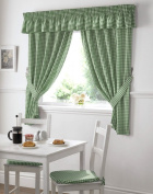 Gingham Kitchen Curtains Green 46 x 54