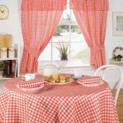 Molly Gingham Cheque Kitchen Pencil Pleat Curtains, Red, 120cm x 110cm