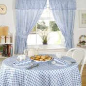 Molly Gingham Cheque Kitchen Pencil Pleat Curtains, Blue, 120cm x 110cm