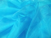 . FAT QUARTERS TURQUOISE BLUE PLAIN ORGANZA VOILE FABRIC FAT QUARTER SHEER MATERIAL, WEDDING DRESS, CRAFT NET CURTAIN DRAPES PARTY FANCY DRESS LIGHT BLUE BRIGHT BLUE ORGANZA FAT QUARTER