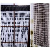 Jacquard Black String Door Curtain With Satin Effect Header