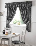 Gingham Kitchen Curtains Black 46 x 54