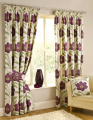 Emily Poppy Print Fully Lined Tape Top Pencil Pleat Ready Made Curtains