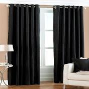 Fiji Faux Silk Eyelet Lined Curtains, Black, 230cm x 180cm