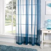 Lucy Plain Voile Curtain Panel, Teal, 150cm x 180cm