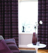 Arl Chenille Stripe Plum Modern Fully Lined Eyelet Curtains Arl Chenille 120cm x 180cm - 180cm drop Curtains